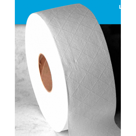 Papel higiénico industrial Tisoft doble capa 300m ø60 acabado gofrado