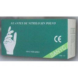 Guante de nitrilo sin polvo azul Sanyc 100 ud