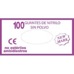 Guante de nitrilo sin polvo examen New Mark 100 ud