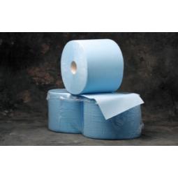 Bobina de papel industrial de color azul y doble capa 2 ud