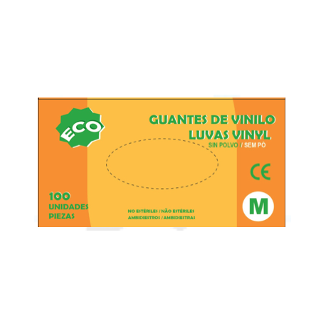 Guante de vinilo sin polvo ECO 100 ud