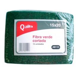 Estropajo de fibra verde cortada Qalita 15 ud