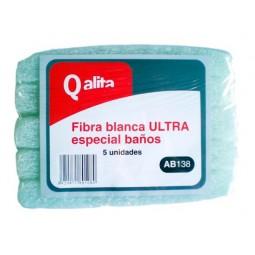 Estropajo de fibra blanca para baños Qalita 5 ud