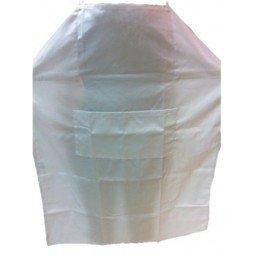 Delantal con peto de algodón blanco ajustable