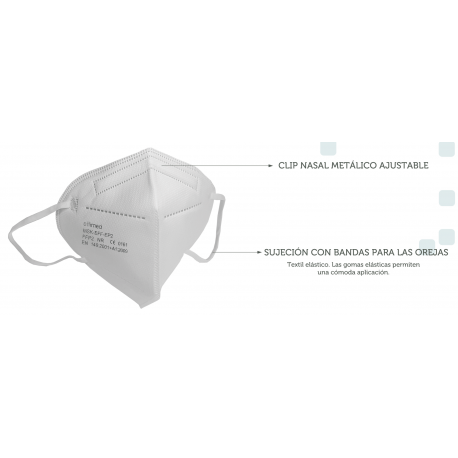 Mascarilla FFP2 CE protectora sin válvula desechable 50 ud