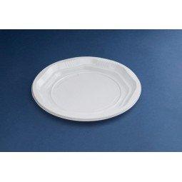 Plato de plástico desechable liso en color blanco 1000ud