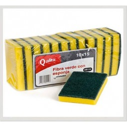 Estropajo de fibra verde con esponja Qalita 12 ud