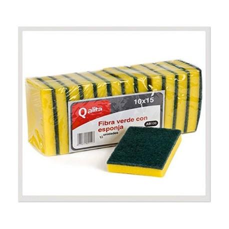 Estropajo de fibra verde con esponja Qalita